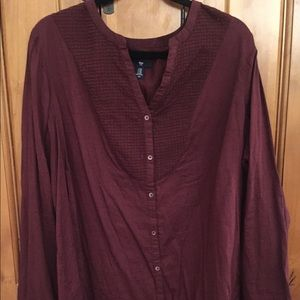 Gap Maroon Cotton Top with Pintuck Detail